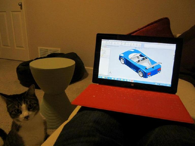 Since the Surface can easily connect via Remote Desktop to my higher-powered Windows PCs, I can even run Solidworks on it. Even Tiger was impressed.