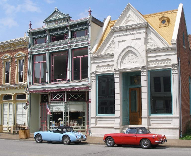 Mike Jacobsen's light blue MGA and Jennifer Orum's red 1970 MGB in downtown New Harmony, Indiana. Photo: Mike Jacobsen. (June 19, 2016)