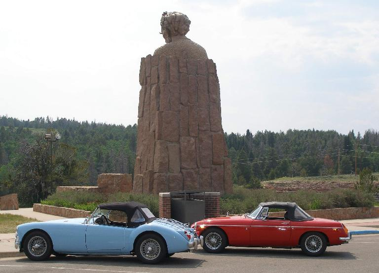 Mike Jacobsen's light blue MGA and Jennifer Orum's red 1970 MGB in front of the Abraham Lincoln Memorial Monument east of Laramie, Wyoming. Photo: Mike Jacobsen. (June 21, 2016)