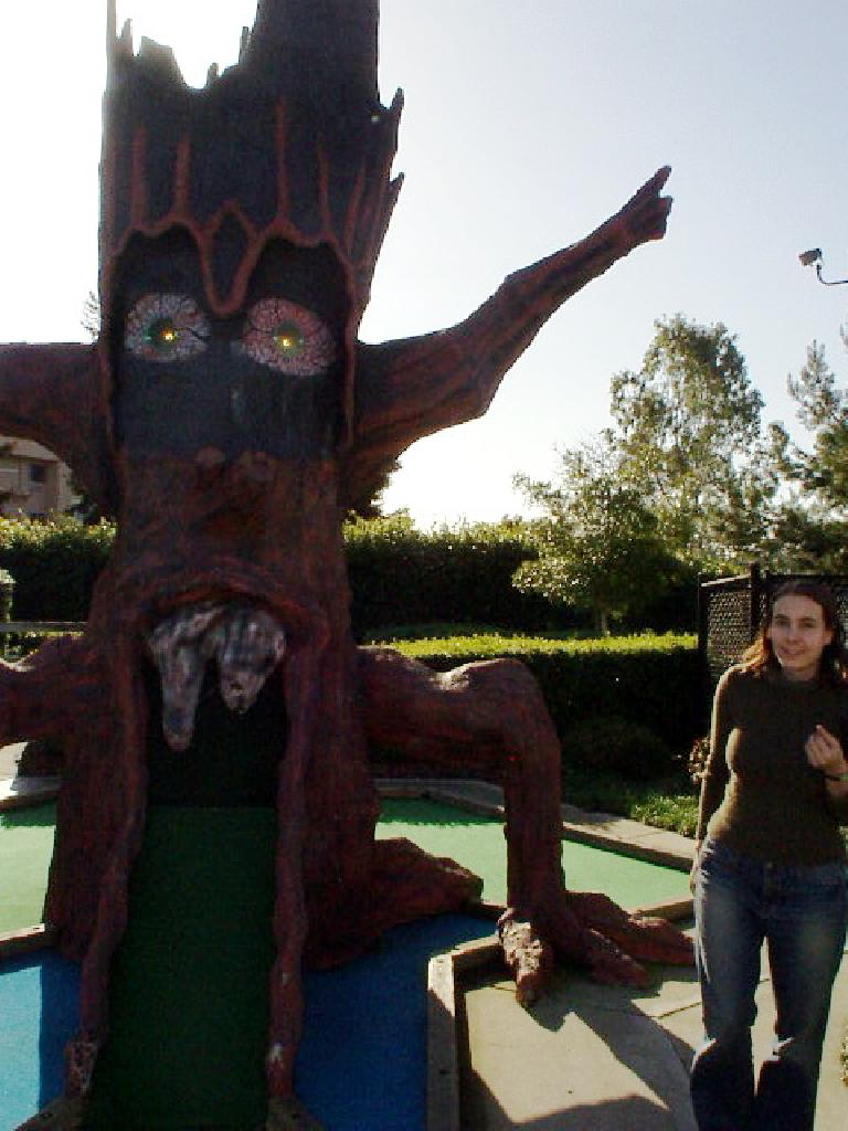 Carolyn always enjoys beating me in mini-golf despite my clearly superior putting skills (haha).  Here she is with a monster tree.