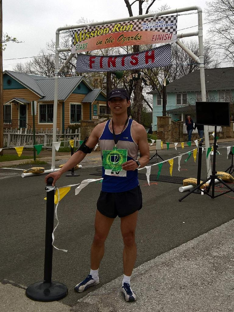 Felix Wong, 1st place overall in the 2017 Mission Run in the Ozarks marathon.