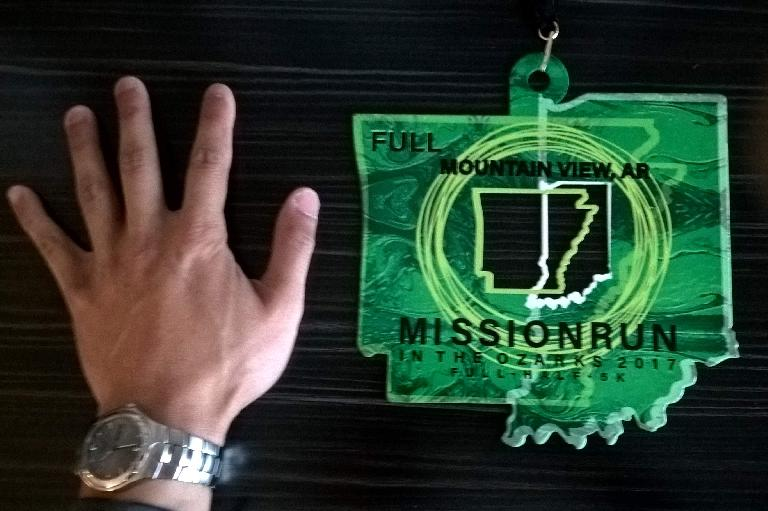The medal for the 2017 Mission Run in the Ozarks marathon was the largest I have ever seen.