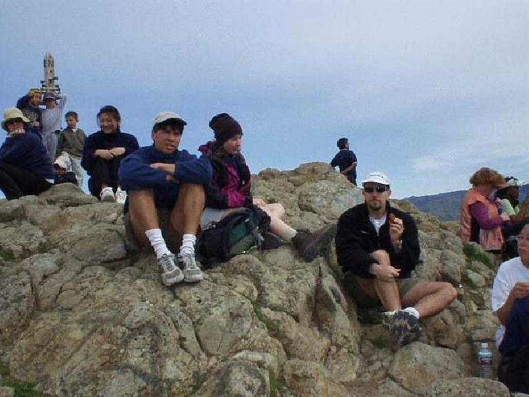 Our group at the top, enjoying the view: Merry (5th from the left), Doug, Kathleen, Adrian, and Evelyn.  Sorry to cut half of you off in this picture, Evelyn!