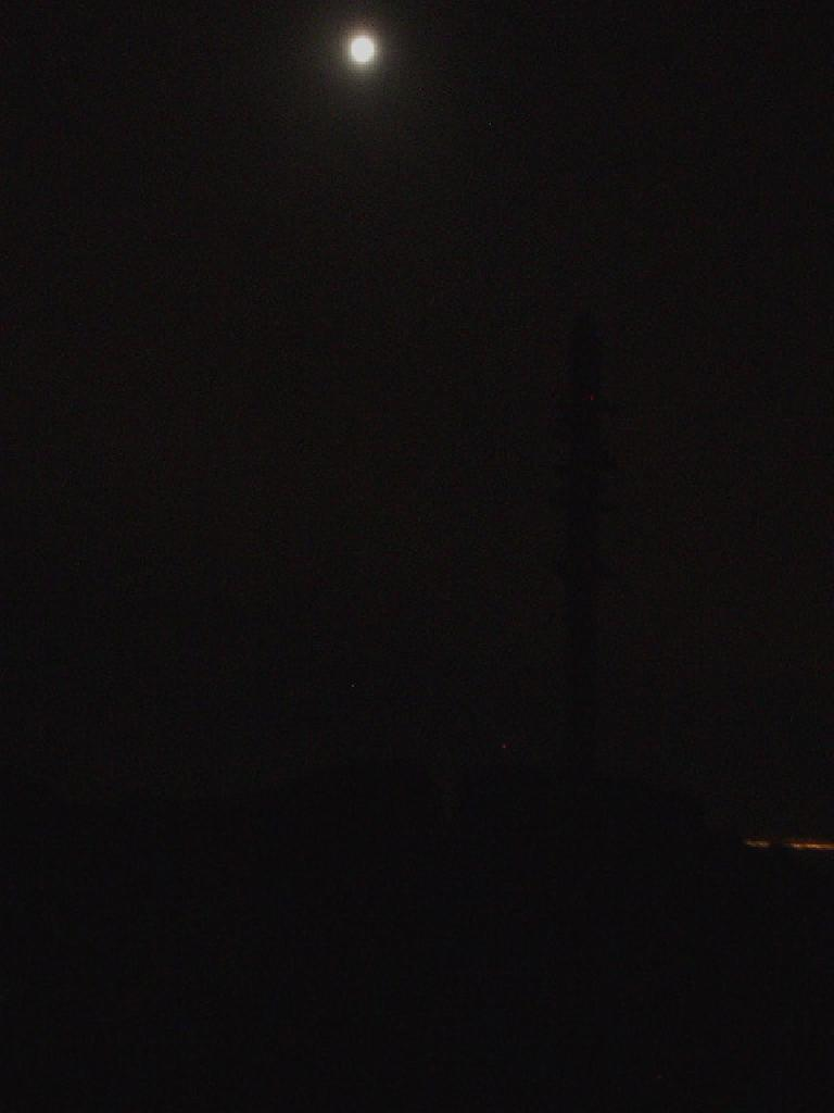 This is a silhouette of the lookout pole at the peak, lit by a 3/4 moon.  The moon was bright enough that I only had to use my trusty headlamp for just a few minutes over rough terrain during the entire hike.
