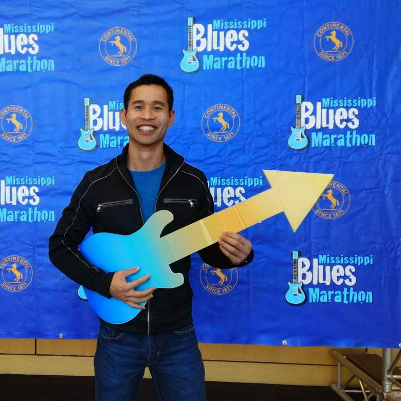 Felix Wong at the Mississippi Blues Marathon pre-race expo.