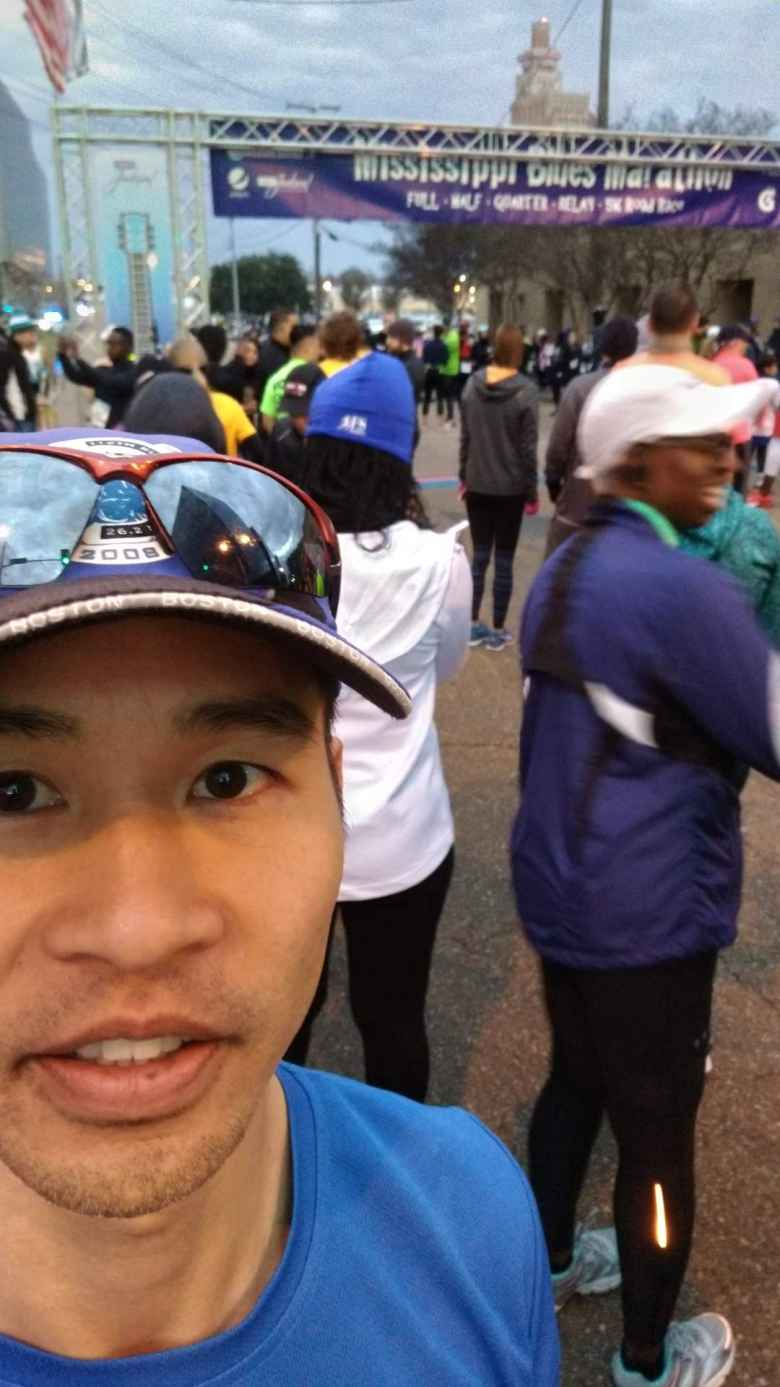Felix Wong at the start of the 2019 Mississippi Blues Marathon.
