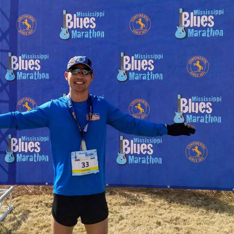 Felix Wong after finishing the 2019 Mississippi Blues Marathon.