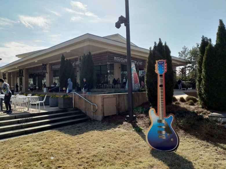The finish of the 2019 Mississippi Blues Marathon was at the Mississippi Museum of Art.