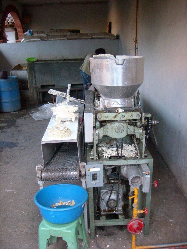 Making tortillas in a store in Mitla.