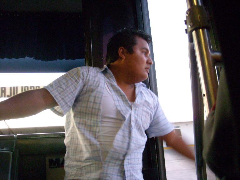 On our bus from Mitla to Oaxaca, a fight broke up and the driver's assistant ended up with a torn shirt trying to break up the fight!