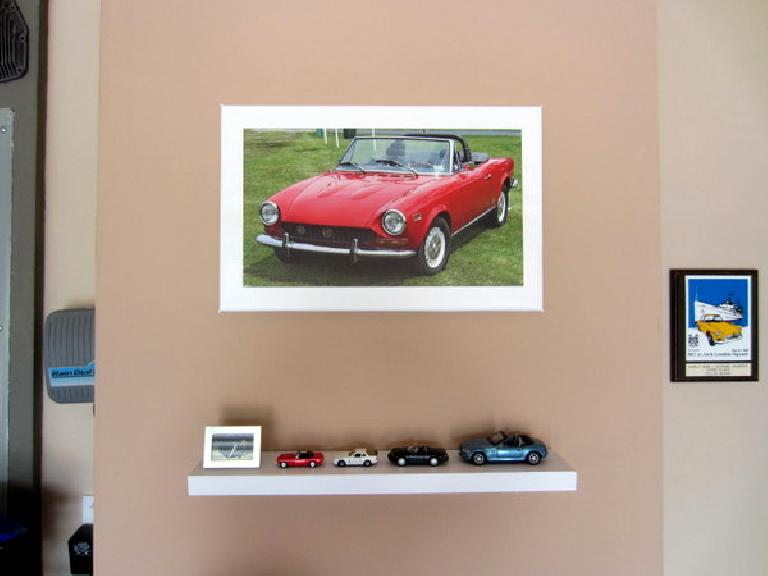 The model cars with the Fiat Spider-on-canvas that Kelly gave me for my birthday.