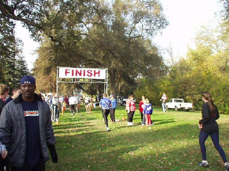 This photo of the finish was taken about 7.5 minutes after my official time of 20:51.