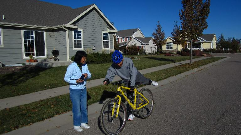 Teaching my mom and dad how to ride a bike.