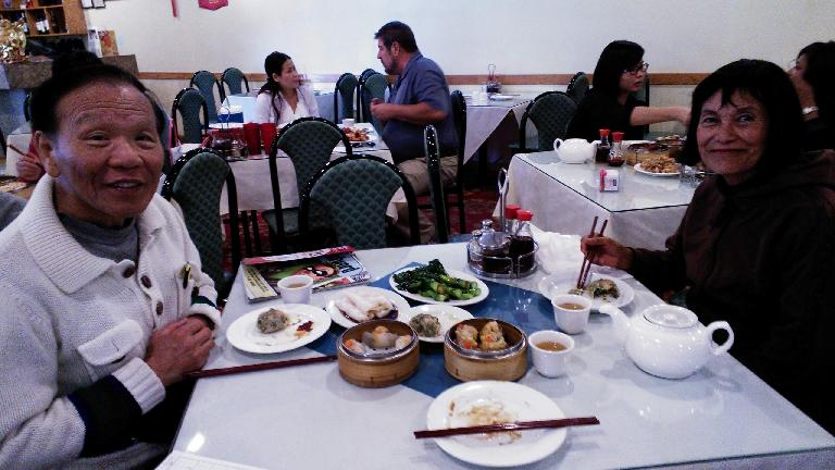 Eating dim sum at Star Kitchen in Denver. (October 23, 2013)