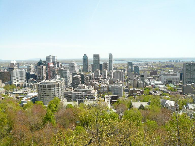 The view of Montreal to the southeast. Note that Montreal is an island.