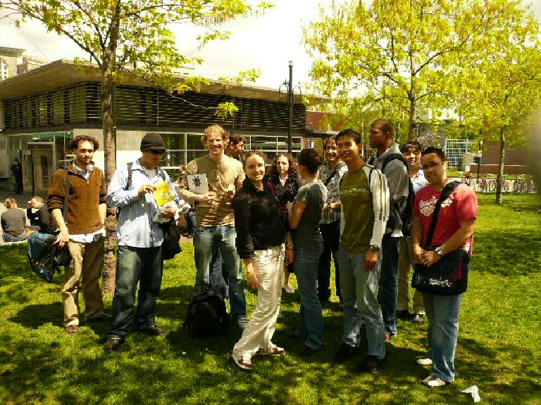 """A bunch of us from the Point-3 Language School in the Mont-Royal area for a """"book finding"""" activity."""