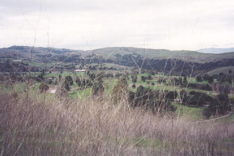 Where we'd begin out hike, from the greenness down below: Ed Levin Park in east Milpitas.