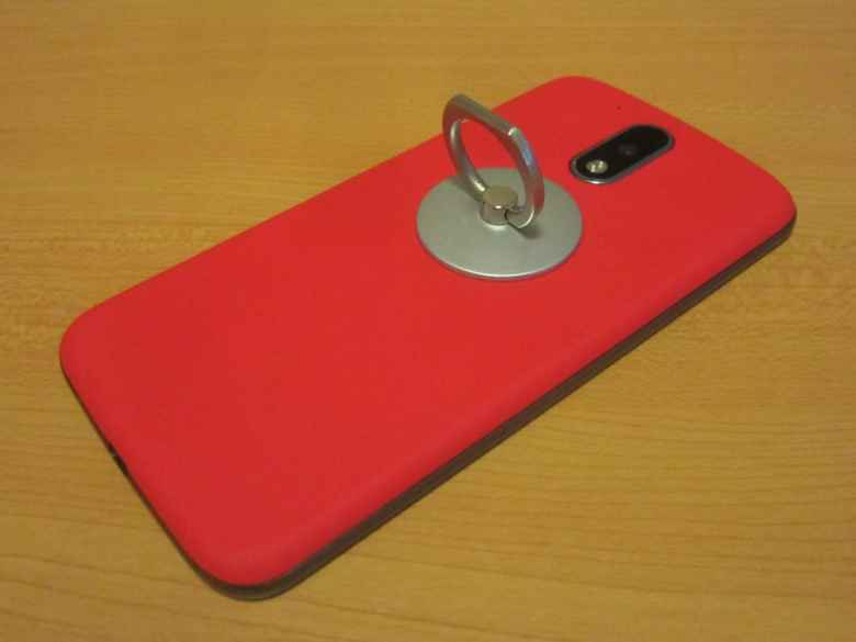 Moto G4, red back cover, silver ring stand