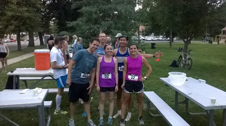 After a hard mile: Javi, Andrew, Maureen, Felix, and Eli.