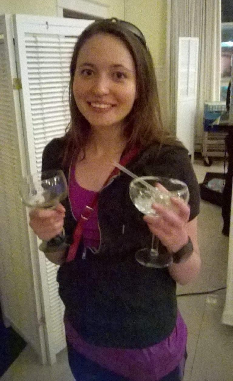 Maureen was awarded a cactus margarita glass by coming in third in her age group!