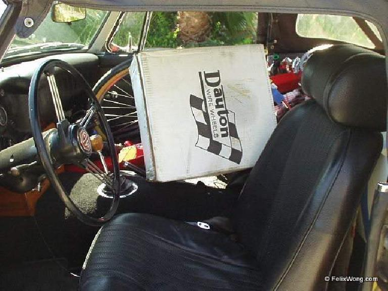 MGB interior, boxes, recumbent bicycle frame inside cabin