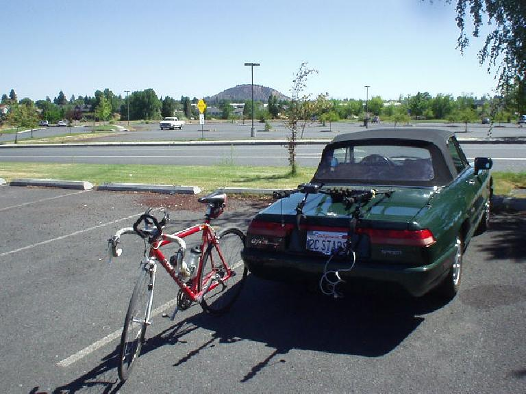 Beginning at the Mt. Bachelor Park 'n' Ride near downtown Bend, the Cannondale comes off of the Alfa to begin a 107 mile journey around Mt. Bachelor and the Cascade lakes.