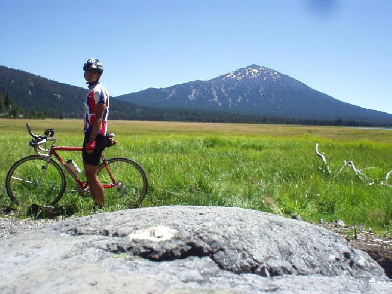 [Mile 28] Felix Wong at Sparks Lake, with Mt. Bachelor in the background.