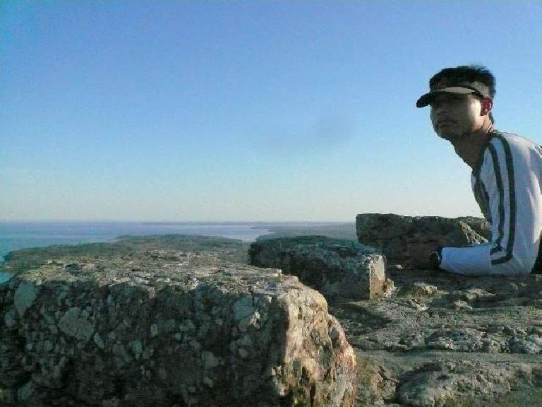 Felix Wong at the top of Mt. Battie Lookout Tower.