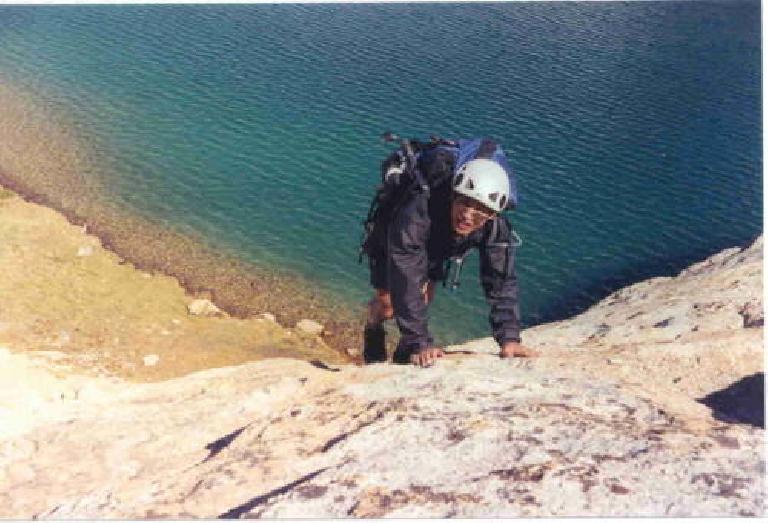 Felix Wong free-climbing above Lake Conness, hours after we turned around. (Photo courtesy of Richard.)