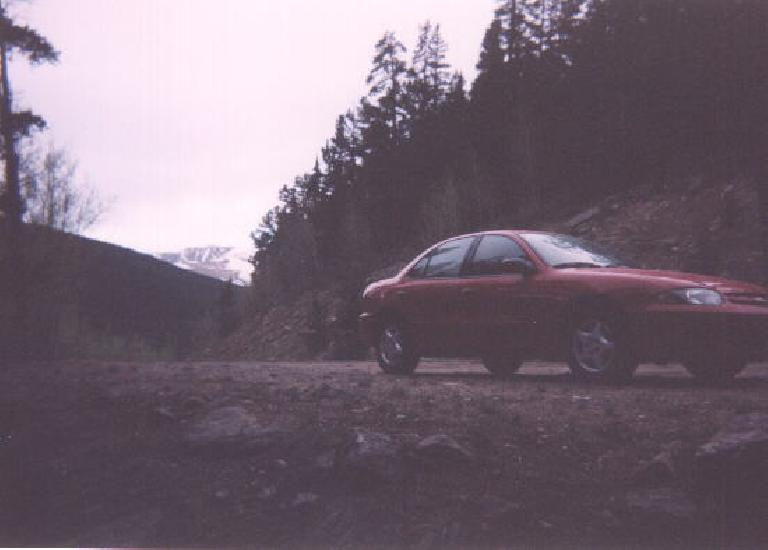 The night before the race, I drove up to 11,000 feet about half a mile past the Mt. Evans fee gate and slept in my Chevy Cavalier rental car to help me acclimate to the altitude before the race.  General Motors did a surprisingly nice job with this car!