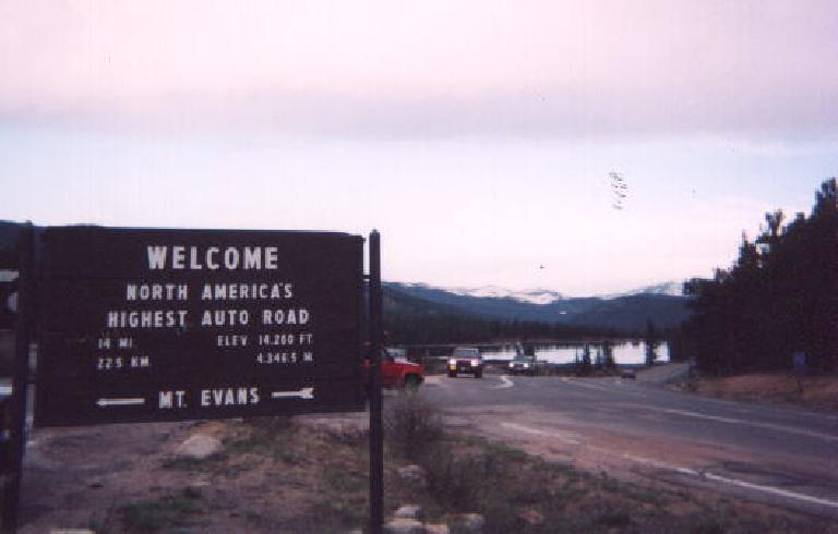 Mt. Evans (about 55 miles southwest of Boulder) is the highest paved road on the North American continent at 14,260', as evidenced by this sign.  There is only 78% as much oxygen up here as at sea level!