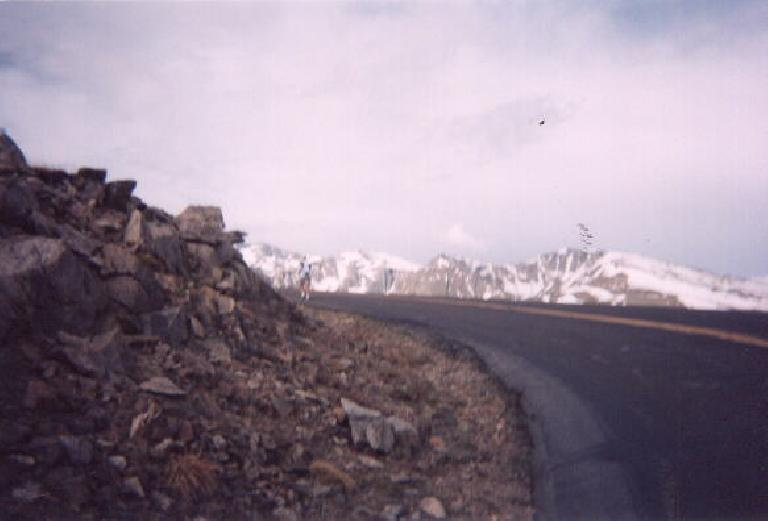 [Mile ~3, 8:37 a.m.] Rounding a corner, and ascending ever higher, one could see the snow-covered peaks in the distance.