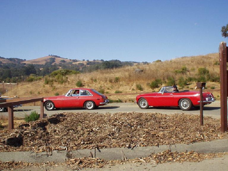 Halfway up the mountain, we stopped at a little rest stop.  Here is a MGB GT and roadster going back out to go up to Lick Observatory.