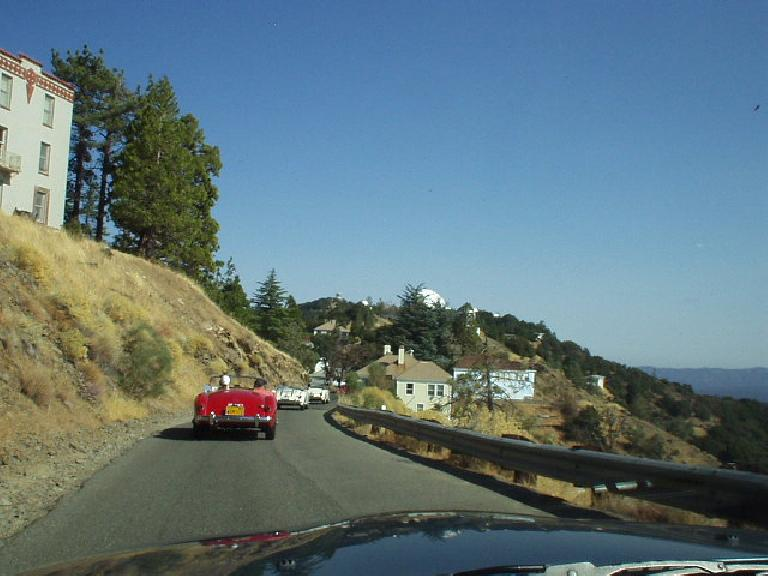 Following Jennifer's red MGA and other MG's down the backside of Hamilton.