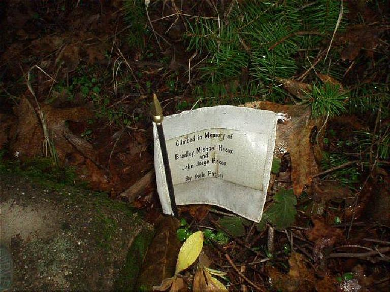 "A poignant reminder of the preciousness of life: a note reading, ""Climbed in memory of Bradley and John Hecox, by their father."""