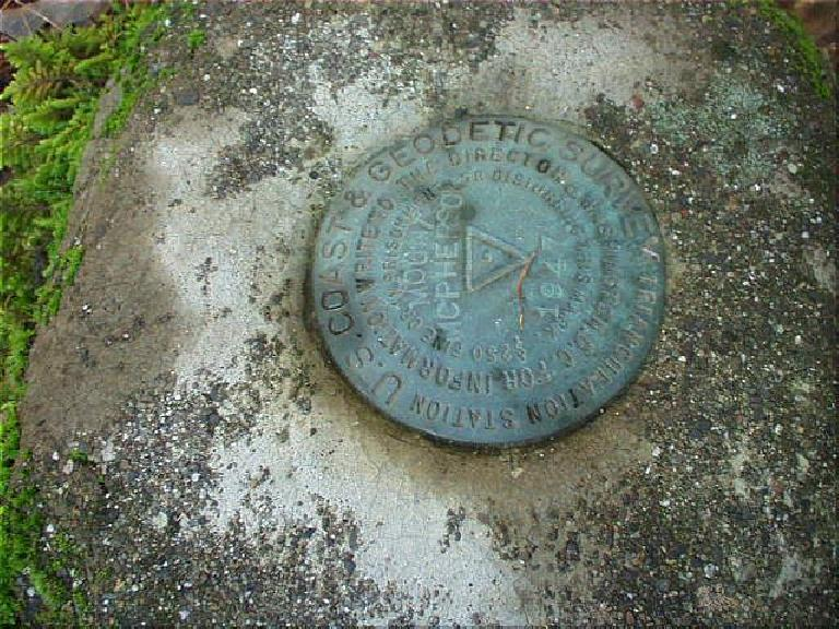 The note was by this marker of the U.S. Coast and Geodedic Survey, denoting the summit.