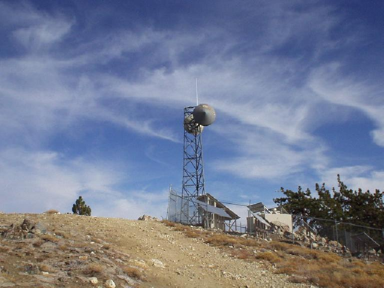 An old observation tower near the summit of Mt. Pinos.  It used to be used to watch for condors, until condors were on the brink of extinction.  A number of years ago the last condor was caught and bred in a successful-but-controversial program; there are now about 100 condors.