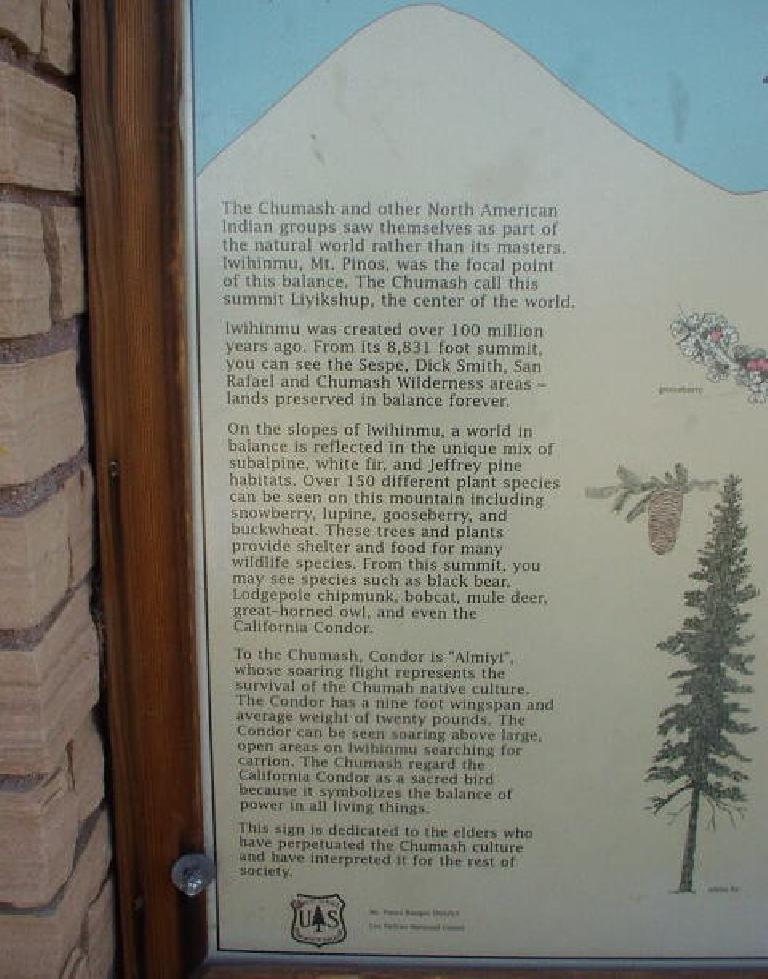 "At the top was this info board that explains, Mt. Pinos was known as ""???inmu"" to the Chumash Indians, and the summit was the center of the world."