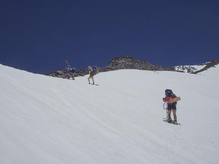 Paul, Steve, and Wendy reach the top of the Green Butte Ridge.