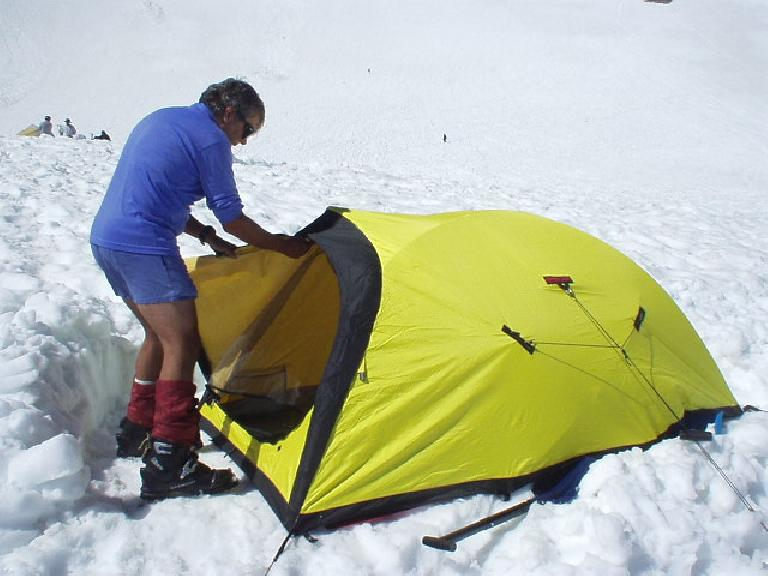 Using snow shovels, we cleared off a flat platform for Paul's Bibbler 4-season, 3-person tent.  It was cozy...