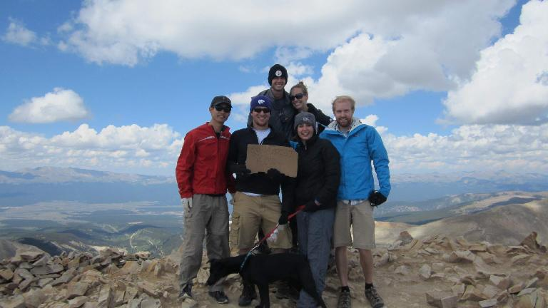 At the summit, from left-to-right: Felix, Kevin, Kyle, Danielle, Diana, and James.