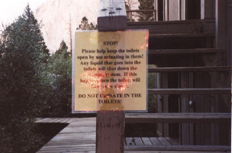 """Outpost Camp: """"Do not urinate in the [solar] toilets"""" (!) sign"""