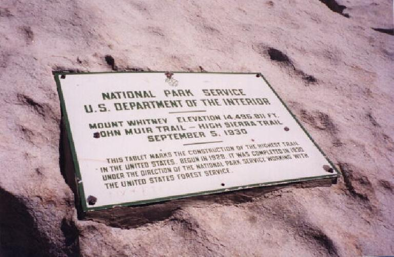 At the top: Mt. Whitney National Service sign at 14,496 ft (12:40pm)