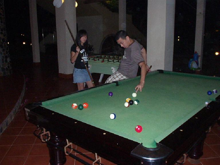 Nam shoots some pool as Kim looks on.  Those two beat me even though Kim refused to take her turns midway through.