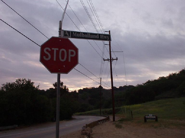 [Mile 17, 6:21am] Now for the bicycle ride: here is its namesake, the world-famous Mulholland Highway east of Malibu, California.