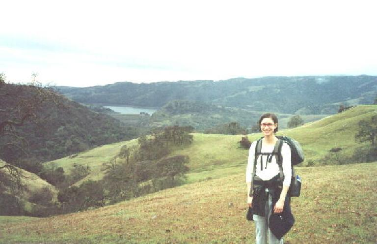 Sarah herself with the Calaveras Reservoir in the background.
