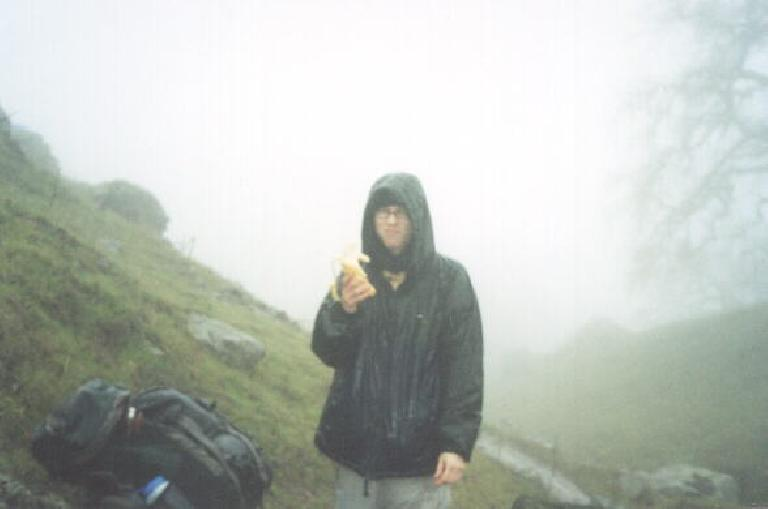 The weather turned nasty pretty quickly!  Sarah at lunch in a wind-sheltered area we strategically chose.