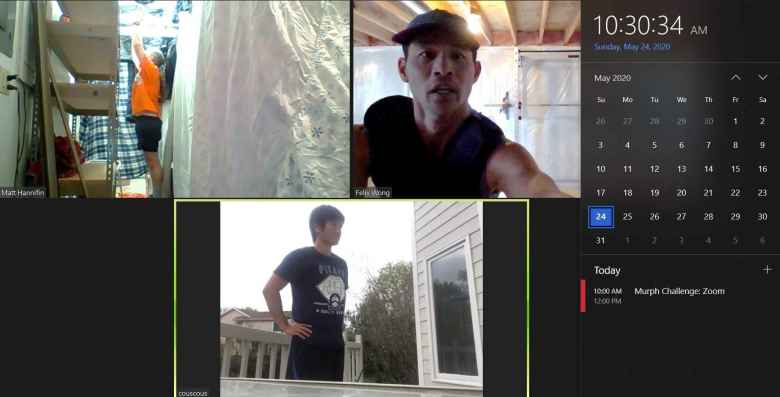Matt, Felix, and Collins teleconferencing on Zoom for their virtual Murph Challenge.
