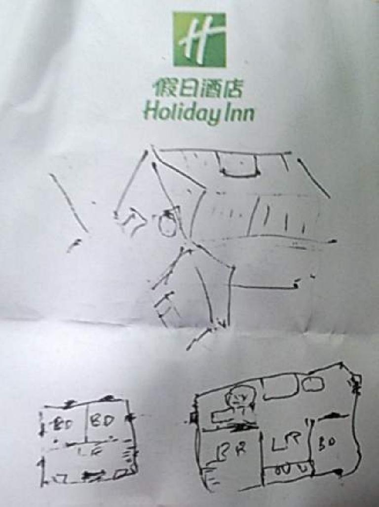 sketch of layout of my dad's childhood home