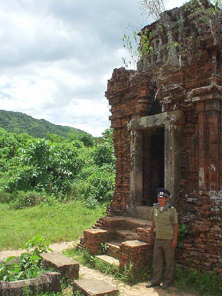 Security guard by one of the ruins.